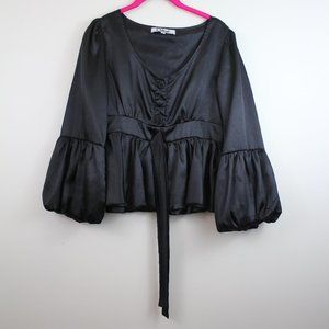 CHLOE   100% Silk Peplum Blouse with Puff Sleeves